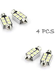 4XFestoon 6x5050 SMD White LED Car Brake Light(DC 12V, 36mm)