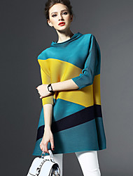 Women's Simple Loose / Sheath Dress,Color Block Turtleneck Above Knee ¾ Sleeve Blue / Red Polyester All Seasons