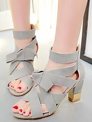Women's Summer Heels / Open Toe Fleece Office & Career / Casual / Dress Chunky Heel Bowknot / Zipper / Lace-up Black / Pink / Gray
