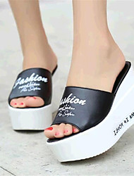 Women's Summer Wedges Leatherette Outdoor / Casual Wedge Heel Black / White