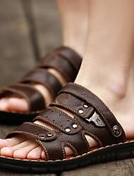 Черный Серо-коричневый-Мужской-Для прогулок Повседневный Для занятий спортом-Наппа Leather-На плоской подошве-С Т-образной перепонкой