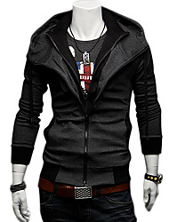 Hot Men cultivating long-sleeved double collar double zipper jacket hooded casual fashion solid color sweater Hoodie