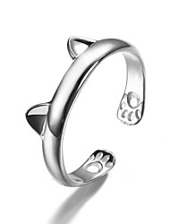 Ring Party / Daily / Casual Jewelry Silver / Sterling Silver / Crystal Women Statement Rings 1pc,Adjustable Silver