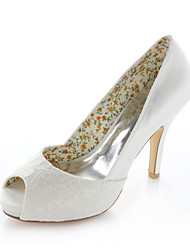 Women's Spring Summer Stretch Satin Wedding Dress Party & Evening Stiletto Heel Ivory