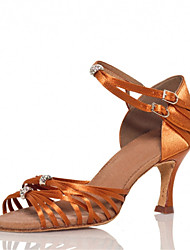 Customizable Women's Dance Shoes Latin / Jazz / Swing Shoes / Salsa / Samba Satin Customized Heel Brown