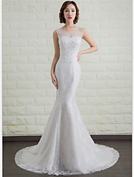 Trumpet/Mermaid Wedding Dress - Ivory Sweep/Brush Train Scoop Lace