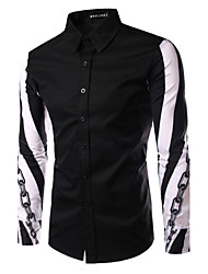 Men's Fashion Chain Print Patchwork Slim Fit Long Sleeve Shirt, Cotton/Polyester/Print