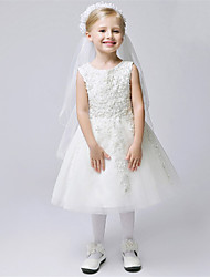 A-line Tea-length Flower Girl Dress - Lace / Tulle Sleeveless Jewel with