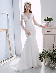 Trumpet / Mermaid Wedding Dress Chapel Train Halter Lace / Satin with Appliques / Lace / Pearl