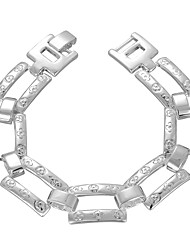 Simple Individual Cool Men's  Rectangular Grid Silver Plated Brass Chain & Link Bracelets(Silver)(1pc)