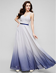 TS Couture Prom Formal Evening Dress - Color Gradient A-line Straps Floor-length Chiffon with Criss Cross