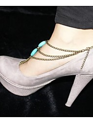 2Pcs Bridemaids Wedding Jewelry  Beach Barefoot Sandal Foot Turquoise Jewelry Anklet Chain Tassel(Silver plated)
