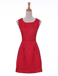 Women's Vintage Beaded Collar Sleeveless Jacquard Skater Plus Size Dress