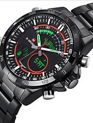 Мужской Наручные часы Кварцевый Японский кварц LED Календарь Секундомер Защита от влаги Нержавеющая сталь Группа Черный марка