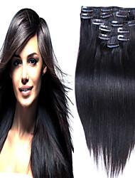 # 1b peruanisches reines Haar 10pcs Einschlagfäden Clip in Haarverlängerungen 100% Remy Haarverlängerungen gerade peruanisches reines Haar