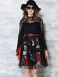 De las mujeres Línea A Vestido Chic de Calle Floral Sobre la rodilla Escote Chino Poliéster