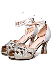 Women's Shoes Leather Low Heel Heels / Peep Toe Sandals Wedding / Party & Evening / Casual Gold