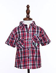 Katoen-Zomer-Boy's-Overhemd-Blokken
