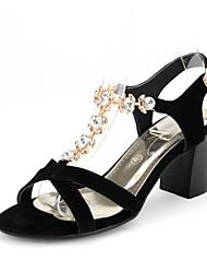 Women's Shoes Leather Chunky Heel Open Toe Sandals Dress Black