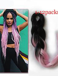 1-12packs # 1b / colore rosa intrecciare i capelli a temperatura elevata intrecciare i capelli 100g / pcs estensioni dei capelli