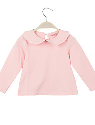 New Cute Baby Girl T-Shirt Peter Pan Collar Keyhole Button Back Long Sleeve Sweet Top