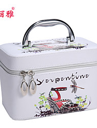 Makeup Storage Cosmetic Box / Makeup Storage PU Flower/Floral / Cartoon Quadrate 22.5x14.6x16.6cm Blue / Pink / White