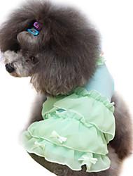 Hunde Kleider Grün / Blau / Rosa / Purpur Hundekleidung Sommer / Frühling/Herbst einfarbig / Schleife / Perle Modisch