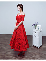 Formal Evening Dress - Ruby A-line Bateau Tea-length Lace