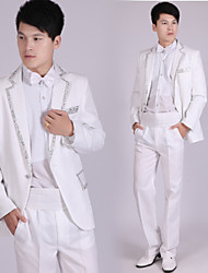 Suits Tailored Fit Notch Double Breasted Six-buttons Polyester Stripes 4 Pieces White / Silver