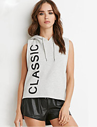Women's Casual/Daily Cute Summer T-shirt,Print Hooded Short Sleeve Gray Cotton Medium