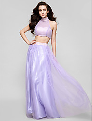 Formal Evening Dress - Lavender Plus Sizes / Petite A-line / Princess High Neck Floor-length Tulle