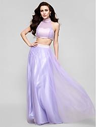 regresso a casa vestido de noite formal - lilás uma linha / princesa alta pescoço assoalho-comprimento de tule