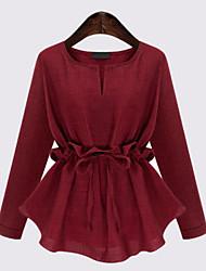 Mulheres Blusa Casual Plus Sizes / Moda de RuaSólido Azul / Vermelho / Preto Linho Decote Redondo Manga Longa Média