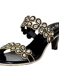 Women's Shoes Leather Cone Heel Heels Sandals Party & Evening / Dress / Casual Black / Silver / Gold