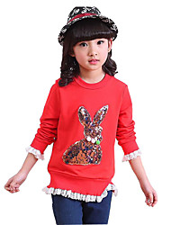Girl's Pink / Red / Gray Tee,Ruffle Cotton Spring / Fall