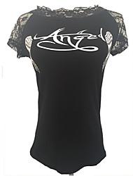 Women's Print White / Black T-shirt , Round Neck Short Sleeve