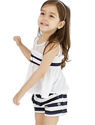 Girl's White Clothing Set,Striped Cotton Summer