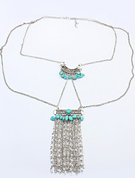 Fashion Silver Plated Tassel Imitation Turquoise Pendant Necklace