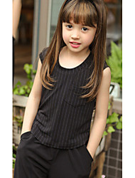 Girl's Striped Clothing Set,Cotton / Spandex Summer Black / White