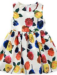 Girl's Multi-color Dress,Floral Cotton Summer