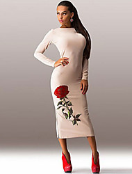 Women's Sexy Casual / Club / Holiday / Party Long Sleeve Print Slit Maxi Dress