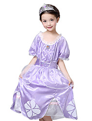 Girl's Purple Dress , Floral Polyester Summer