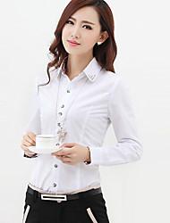 Women's Work Plus Size / Simple All Seasons Shirt,Patchwork Peter Pan Collar Long Sleeve Red / White / Black Cotton Medium