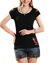Women's Patchwork Blue / Pink / White / Black / Yellow  Ethnic Style T-shirt , Round Neck Short Sleeve
