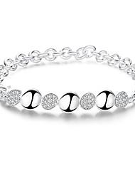 Lureme® Creative Silver Plated Jewelry Interlocking Round Bracelets for Women