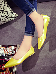 Women's Shoes Leatherette Flat Heel Pointed Toe Flats Casual Black / White / Gray / Gold