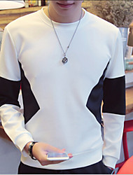 Men's Print Casual T-Shirt,Polyester Long Sleeve-Black / White