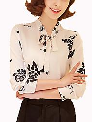Damen Solide Einfach Lässig/Alltäglich Hemd,Ständer Frühling Langarm Blau / Schwarz Andere Mittel