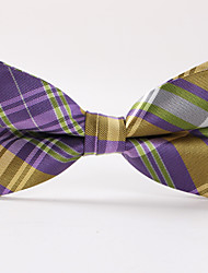 Purple Grid Stripe Bow Tie