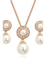 T&C Women's Bridal Cz Crystal Jewelry White Imitation Pearl Waterdrop Necklace and Earrings Set